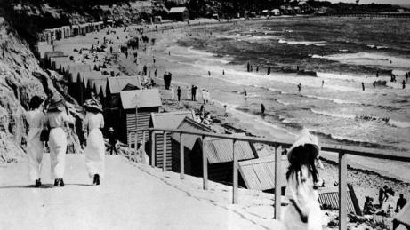 Bathing boxes at Melbourne's Hampton Beach in the 1920s. Picture: Supplied via Herald Sun