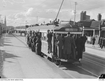An overcrowded East Preston tram in Fitzroy North, 1944, Australian War Memorial