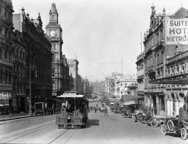 Open trams on Bourke Street, 1920s | SLV