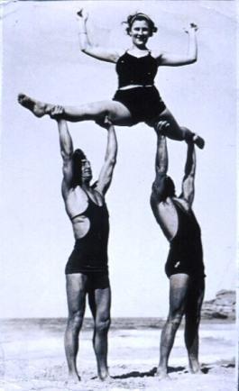 Acrobatics on the beach, circa 1930s, Australian Maritime Museum